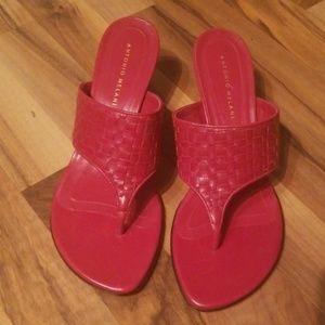 Antonio Melani Dark Red Thong Heels Size 9